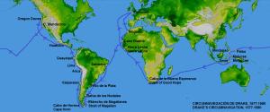Mappa che mostra il viaggio di circumnavigazione di Sir Francis Drake tra 1577-1580