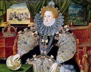 Il ritratto di Elisabetta  I fu dipinto intorno al 1588 per commemorare la disfatta dell'Invincibile Armata. Elisabetta tiene la mano sul globo terrestre, simbolo di autorità, mentre sullo sfondo è raffigurato l'evento.