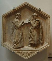 Euclide e Pitagora, ovvero la Geometria e l'Aritmetica, formella del Campanile di Giotto, Luca della Robbia, 1437-1439, Firenze.