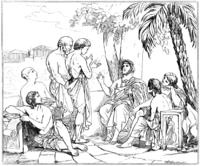 Platone discorre con i suoi discepoli nell'Accademia