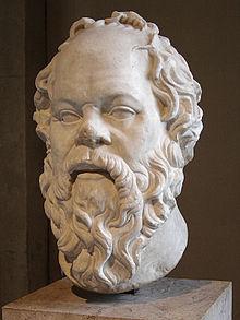 testa di Socrate, scultura di epoca romana, conservata al Museo del Louvre, Francia. Socrate fu il primo filosofo ad essere ritratto. Tutte le altre immagini dei filosofi presocratici sono frutto dell'immaginazione dei artisti che le hanno eseguite, senza un vero riscontro.