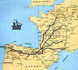 Cartina Cammino di Santiago de Compostela
