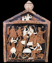 Placca votiva in terracotta, ritrovata nel santuario di Eleusi, Grecia, IV secolo a.C.