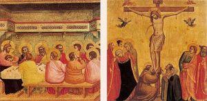 sotto, Cristo dipinto da Giotto, l'artista fiorentino che ruppe la tradizione medioevale e seppe infondere nelle proprie opere la sua personalità creativa e una piena conoscenza della validità della realtà umana.