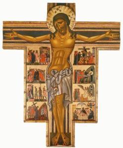 Cristo crocifisso in un dipinto italiano del XIII secolo, le cui caratteristiche stilizzate seguono il disegno e gli schemi tradizionali.