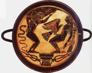 Dipinto vascolare raffigurante Zeus che invia un'aquila a divorare il fegato di Prometeo.