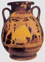La disputa tra Appolo e Ercole per il tripode. Pelike attica(tipo di anfora greca con corpo rigonfio nella parte inferiore, usato nella ceramica attica dal 6° al 4° sec. a. C.) a figure rosse, Museo Nazionale Etrusco di Villa Giulia, Roma