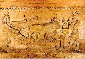 Il faraone che porta l'offerta al toro Api