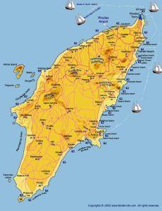 L'isola di Rodi. Il Colosso di Rodi doveva essere posizionato all'estremità nordica dell'isola.