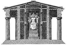Ricostruzione della sistemazione della statua nel tempio