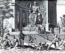 Ricostruzione fantastica della statua di Zeus in una stampa del XVI secolo