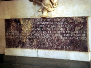 Lapide tomba di Michelangelo